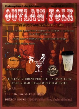 outlaw folk poster - paint - dunlop house